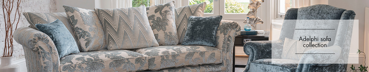 Adelphi fabric sofa collection by Alstons upholstery at Forrest Furnishing