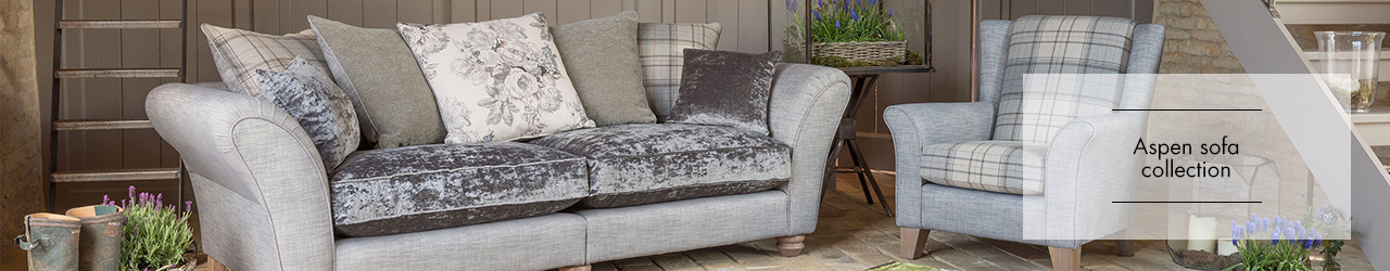 Aspen fabric sofa collection by Alstons upholstery at Forrest Furnishing