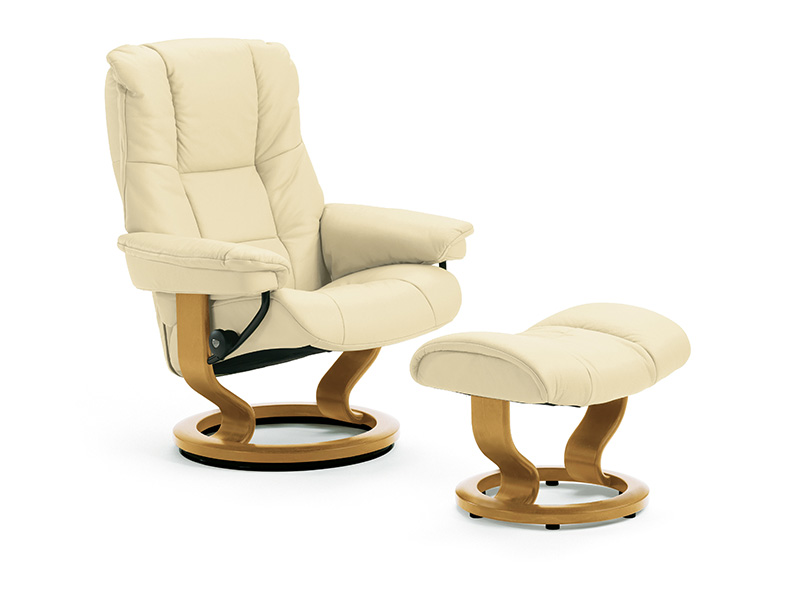 Mayfair (M) Recliner and Stool in Paloma Kitt and Oak Finish