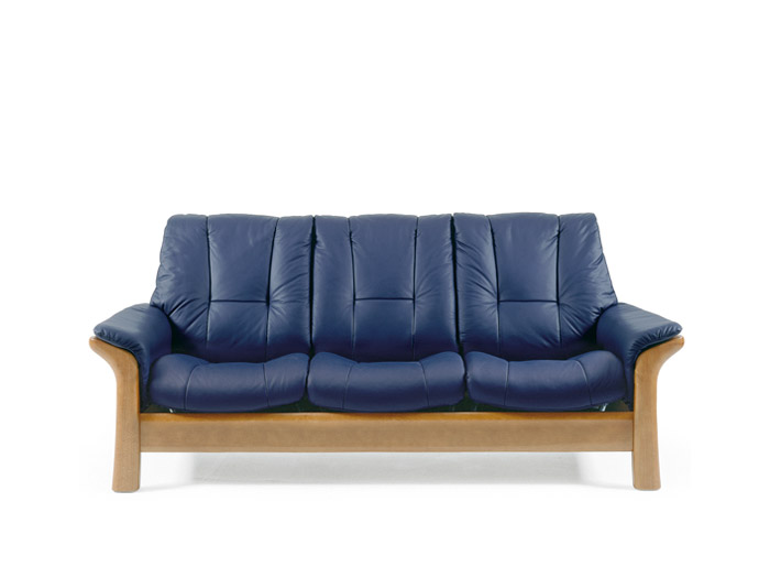 Windsor 3 Seater Low Back Sofa in Batick Leather