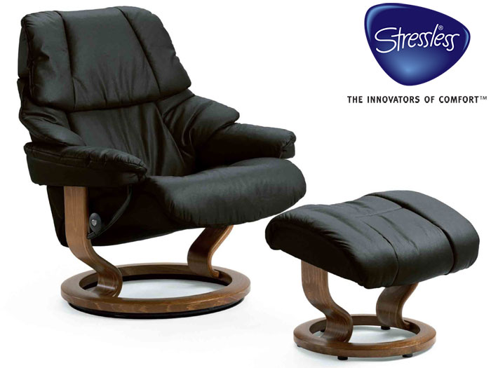 Reno Large Recliner and Stool with Classic Base in Noblesse