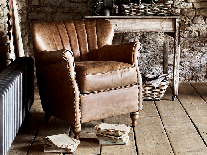 Percy Leather Accent Chair Forrest, Leather Living Room Chair