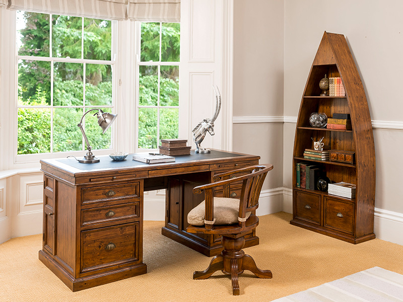 Longboat Dark Oak Large Office Desk