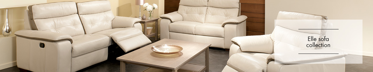 Elle leather sofa collection at Forrest Furnishing