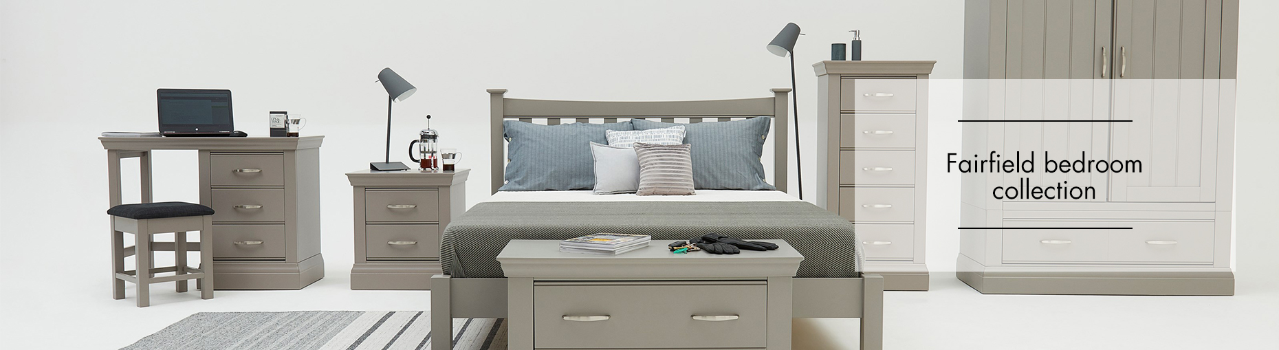Fairfield painted grey bedroom collection at Forrest Furnishing