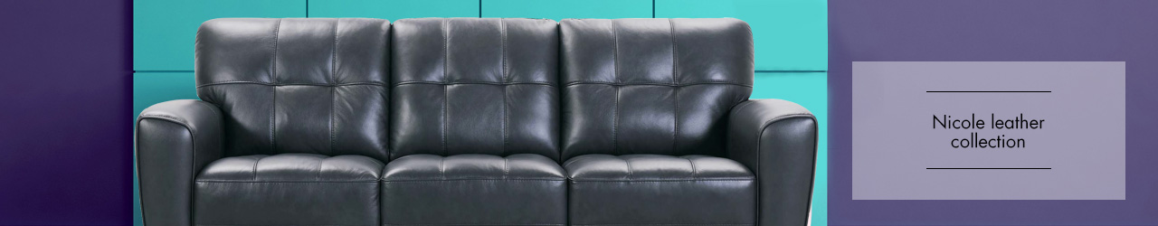 Nicole leather sofa collection by Violino at Forrest Furnishing