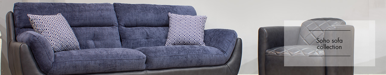 Soho Fabric Leather Sofa collection at Forrest Furnishing