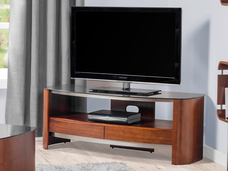 Contour 310 TV Stand in Chrome and Walnut