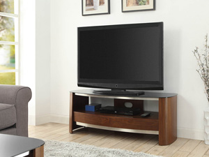 Merea 310 TV Stand in Chrome and Walnut