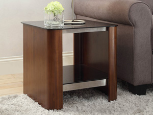 Merea 312 Lamp Table in Chrome and Walnut