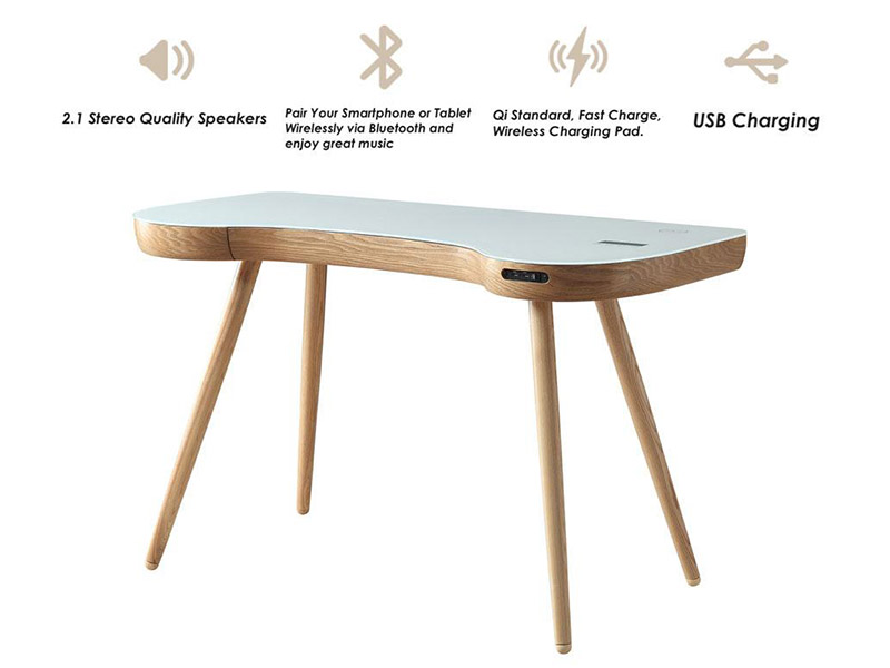 Alcudia Smart Speaker Charging Desk in Oak