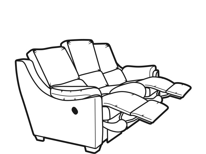 Albany 3 Seat Double Power Fabric Reclining Sofa