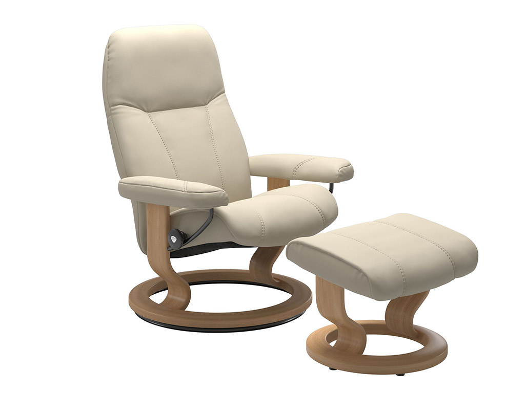 Consul (S) Recliner and Stool in Cream and Oak Classic Base