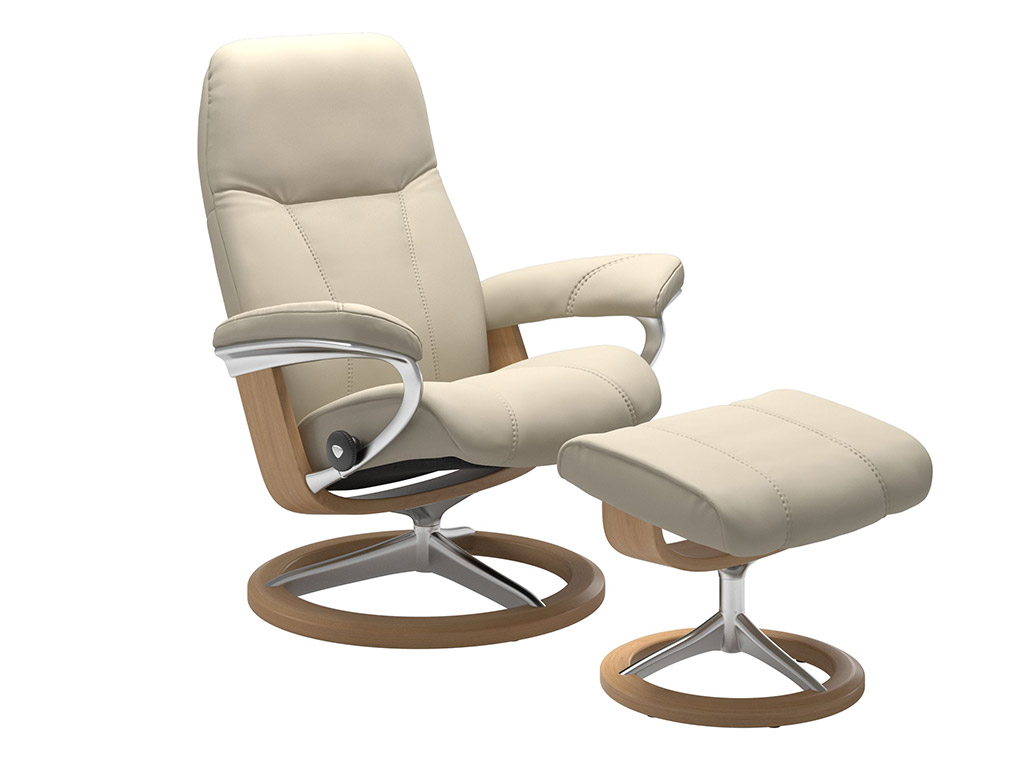 Consul (L) Recliner and Stool in Cream and Oak Signature Base