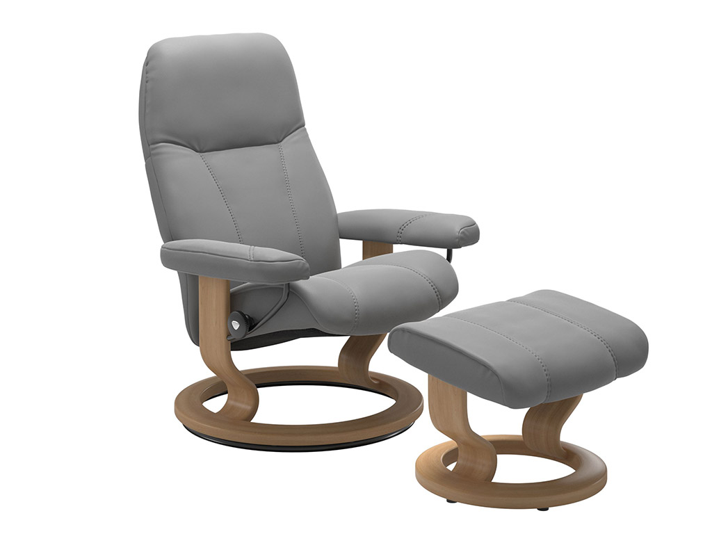 Consul (S) Recliner and Stool in Dove and Oak Classic Base