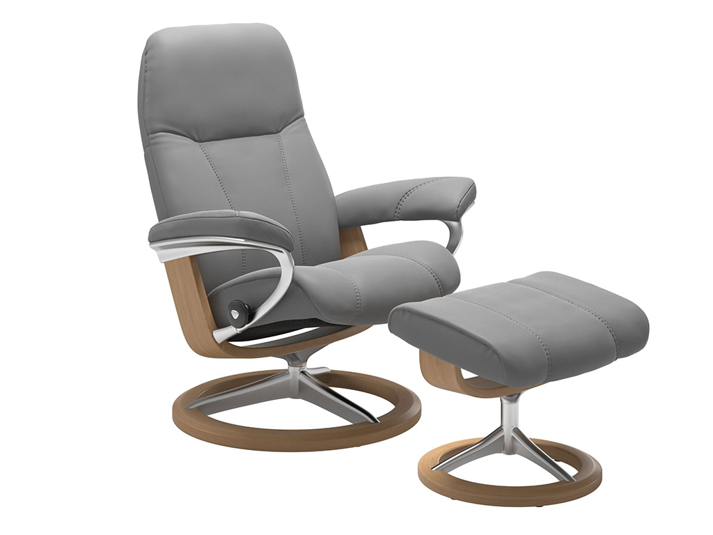 Consul (M) Recliner and Stool in Dove and Oak Signature Base