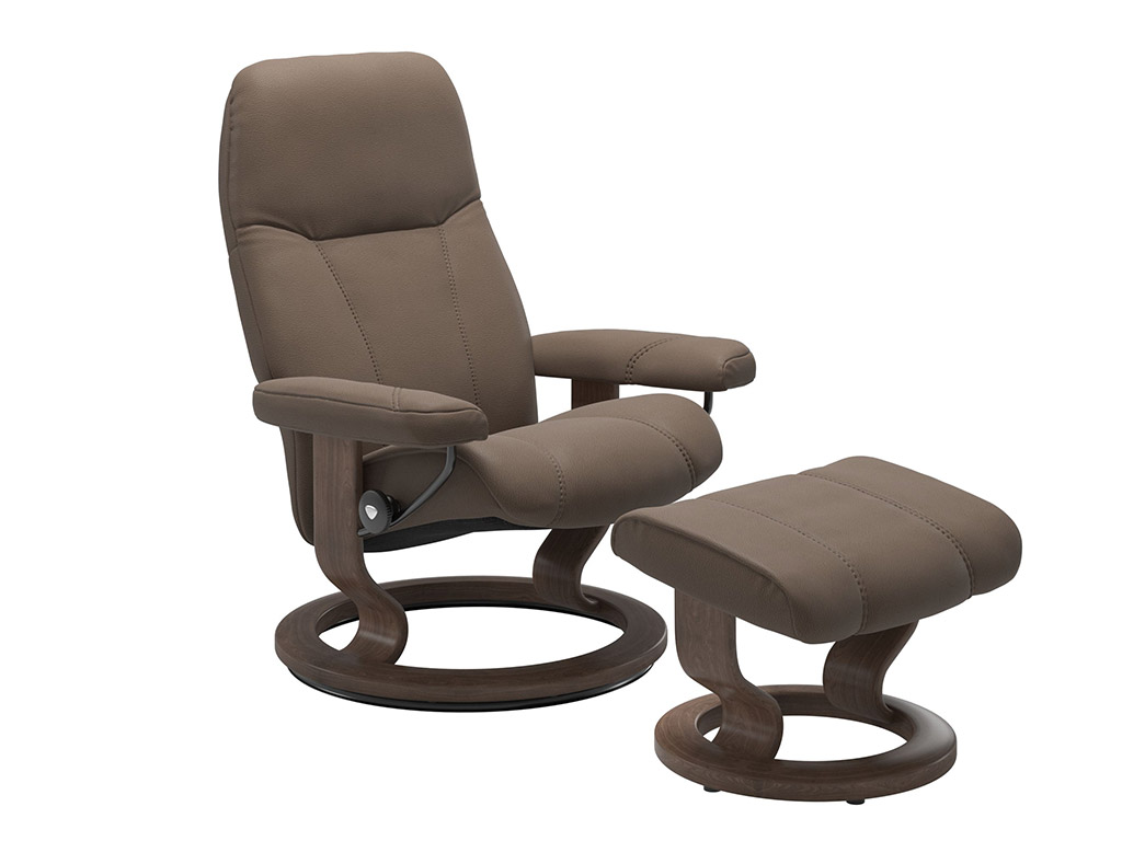 Consul (S) Recliner and Stool in Mole and Walnut Classic Base