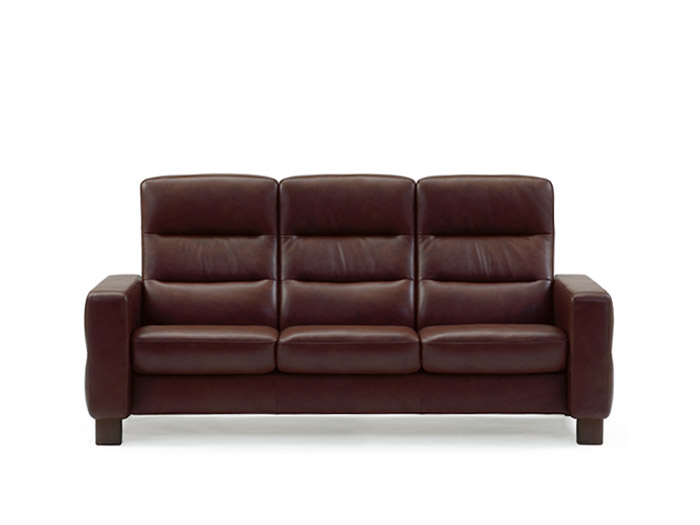 Wave 3 Seater High Back Sofa in Batick Leather