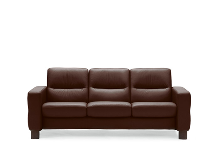 Wave 3 Seater Low Back Sofa in Batick Leather
