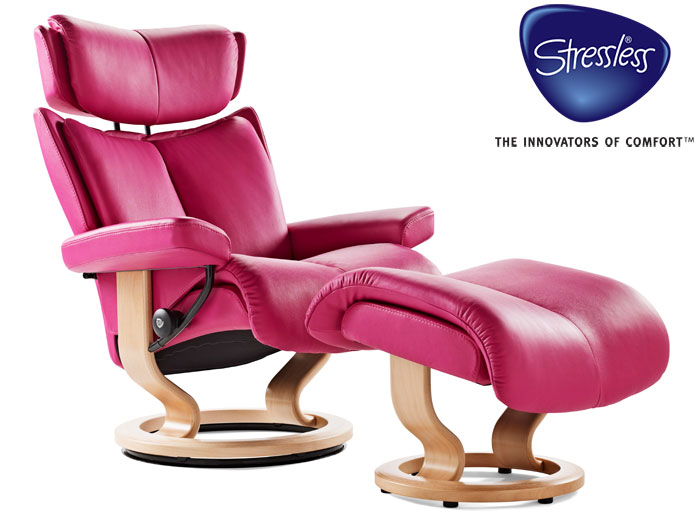 stressless medium magic recliner and stool in paloma leather