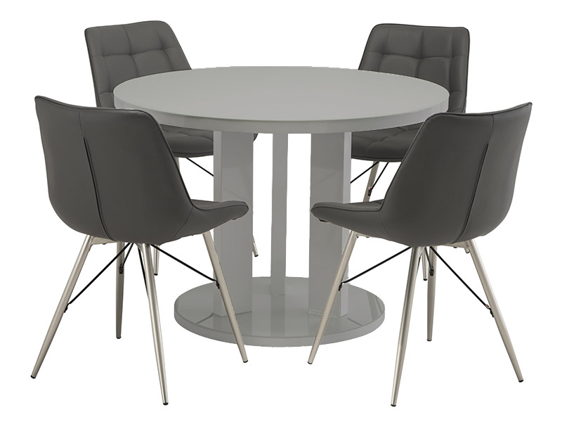 Ellie Grey Dining Table with 4 Grey Nova Chairs