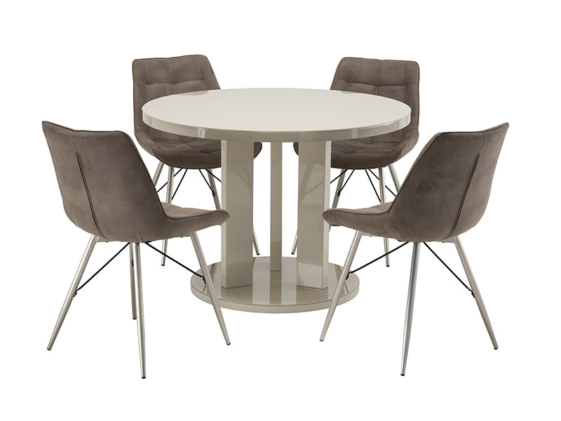 Ellie Latte Dining Table with 4 Taupe Nova Chairs