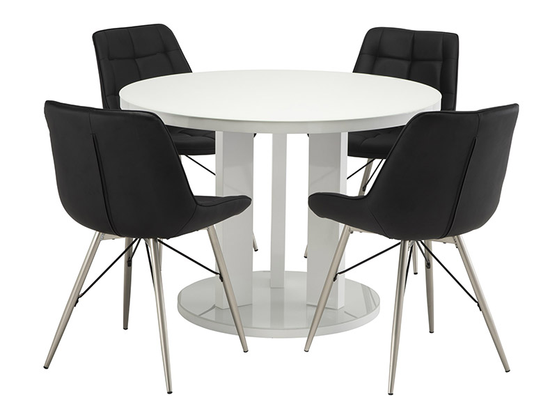 Ellie White Dining Table with 4 Black Nova Chairs